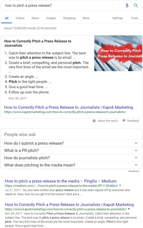 Featured Snippet of Kapok Marketing: How to Pitch a Press Release
